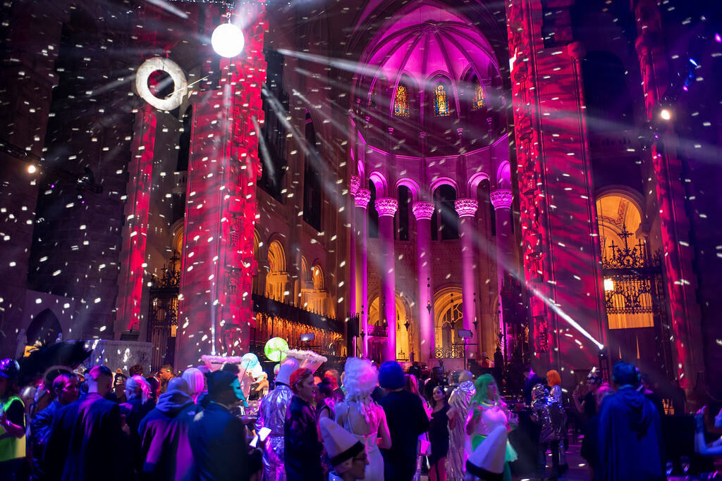 party inside a cathedral